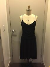 Poetry Clothing Little Black Dress Spaghetti Strap Ruching High Low Hem M