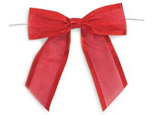 """12 Red Bows Organza Satin Edge 1-1/2"""" Ribbon Christmas Graduation Holiday Gifts"""