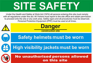 Site Saftey Sign Sticker Health Safety Warning Construction Site PPE 001