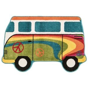 Play Rug Campervan Colourful Fun Funky Retro Kids Boy Girl Bright Soft Warm...