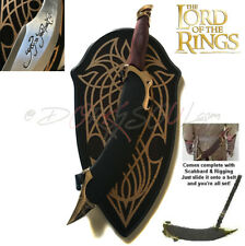 Lotr Lord of the Rings Elf Arwen Elven Fighter Sword Dagger of Aragorn w. Plaque