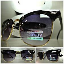 Mens Women CLASSIC Old School VINTAGE RETRO Style SUN GLASSES Black & Gold Frame