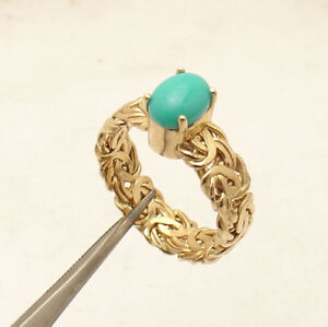 Sz 7 Genuine Cabochon Turquoise Gemstone Byzantine Ring REAL 14K Yellow Gold QVC