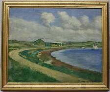 BLUMENSAADT Aage 1899-1939 Odense Stouby Dänische Küste mit Strandhaus Segelboot