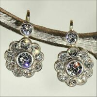 3.00 Ct Moissanite Drop/Dangle Earrings Solid 14k White Gold Excellent Round Cut