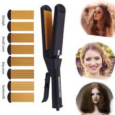 4In1 Hair Straightener Curler Crimper Replaceable Ceramic Ionic Flat Iron Salon