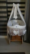 My Sweet Baby Wicker Crib And 4pc Bedding Set