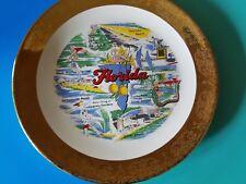 Vintage Souvenir Plate Florida Cypress Gardens Daytona Beach Silver Springs