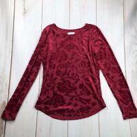 Sundance Womens Velvet Blouse Red Floral Long Sleeve Scoop Neck Stretch XS