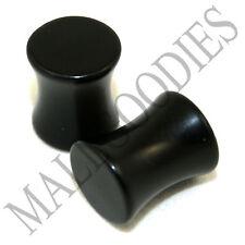 0458 Double Flare Saddle Black Acrylic 0 Gauge 0G Ear Plugs 8mm