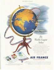 1953 Air France  PRINT AD Airline Great Fun illustration Jet Plane World Globe