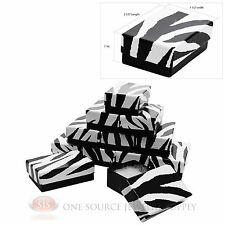 "12 Zebra Print Cotton Filled Jewelry Gift Boxes Pendant Charm 2 5/8"" X 1 1/2"""