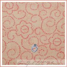 BonEful Fabric FQ Cotton Quilt Peach Orange Word Girl Scout Calico Swirl Flower
