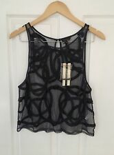 TOPSHOP NAVY BLUE MESH EMBELLISHED BEADED TOP 10 BNWT