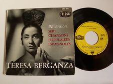 "TEREZA BERGANZA : DE FALLA, 7 chansons populaires espagnoles EP 7"" DECCA CEP 642"