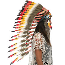 Long Feather Headdress- Native American Indian Style -ADJUSTABLE- Multicolor