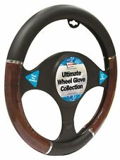 Jaguar X-Type Black & Walnut Steering Wheel Cover Glove 37cm
