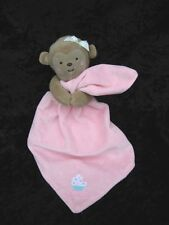 Carters Pink Brown Monkey Sweet Cupcake Velour Lovey Security Blanket Rattle