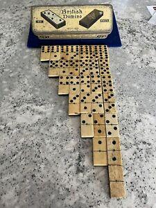 RARE Vntg Antique British Domino 28 Set EML Co Patent 8436 Bone & Ebony Tiles