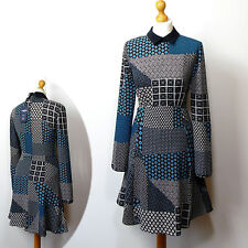 New M&S LTD EDITION Fit & Flare COLLARED DRESS ~ Size 8 ~ BLUE Mix