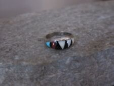Vintage Zuni Bowannie Sterling Silver Multi Stone Inlay Ring size 4.25.