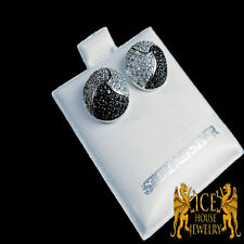 "Men""s Large White G/P Finish Diamond Simulated Round Circle Shape Stud Earring"