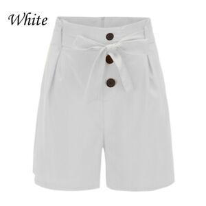 Women Summer Shorts Sexy High Waist Beach Street Slim Solid Button Casual Pants