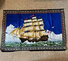 Vintage Tapestry Ship Sailing Waves 100% Cotton Made In Turkey
