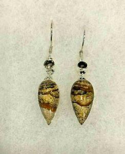 Sajen Picture Jasper & Smoky Quartz Drop Earrings Approx. 2 In. Long - 6.3 Grams