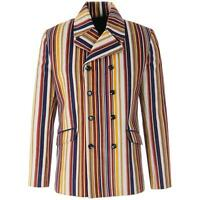 NEW MENS DOUBLE BREASTED RETRO STRIPED CORDUROY Cord 70s 60s BLAZER JACKET MC503