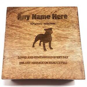Staffordshire Bull Terrier Engraved Pet Urn Ashes Pet Box Dog Casket Staffie