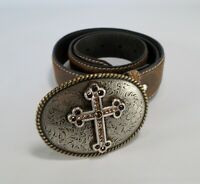 Nocona Leather Belt Cross Buckle Rhinestone Bling N3444202 Brown Medium 36