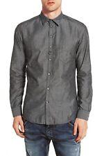 Diesel Men's S-Nami Long Sleeve Slim Fit Cotton/Silk Shirt Gray Size L $178
