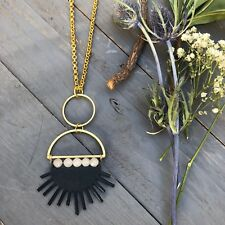 Sunrays Necklace White Jade Gemstones Black Sun Brass Moon Chain Boho Gold Chain