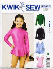 KWIK SEW SEWING PATTERN 3507 GIRLS SZ 4-7 DANCE, GYM, SKATING, SKIRTED LEOTARDS