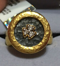 GURHAN - PURE SOLID 24k Gold Hammered IMPERIAL DIAMOND RING  Size=4.5  Ret=$3900