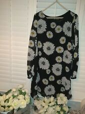 atmosphere Dress 16 Black with White flowers long sleeved fully lined immaculate