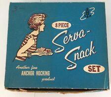 ANCHOR HOCKING SERVA-SNACK SET - #600/76 - 8 PC. GRAPE PATTERN - ORIGINAL BOX