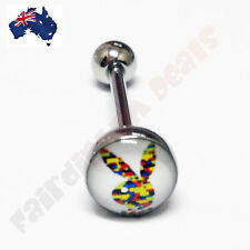 316L Surgical Steel Genuine Playboy Bunny Tongue Ring - Colorful Playboy Bunny
