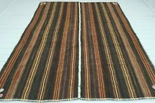 "Brown Colored Kilim, Turkish Large Tribal Rug, Area Rug, Wool Carpet Rug84""X102"""