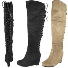 Womens Ladies Over The Knee High Boots Back Tie Up High Wedge Heel Shoes Size