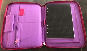 Filofax Pink Zipped Organiser Folder - Grab Travel Work Office iPad Note Book