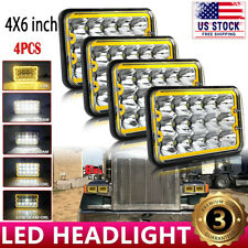 "4X 4x6"" LED Cree Headlights for Freightliner Kenworth T800 T400 W900 T600A Truck"