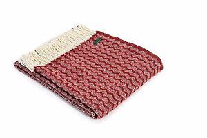 TWEEDMILL TEXTILES SOFA BED THROW BLANKET RUG 100% PURE NEW WOOL - ZIG ZAG RED