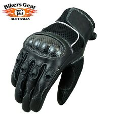Aust Bikers Gear Top A Grade Leather Short Summer Mesh Carbon Knuckle Gloves