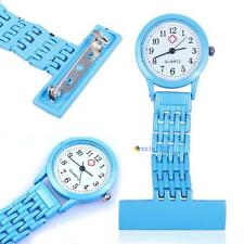 Best Brand Vintage Silver Stainless Steel Nurses Pocket Quartz Fob Watch Blu UPC
