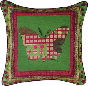 """Amber Forest ~ Butterfly Silhouette 17"""" Tapestry Square Pillow"""