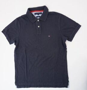 Tommy Hilfiger Slim Fit Poloshirt Herren Gr.M blau uni Knopf Glatt -S1386