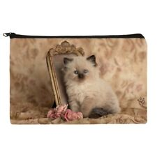 Ragdoll Tiffany Cat Kitten Victorian Roses Makeup Cosmetic Bag Organizer Pouch