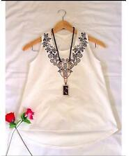 Tribal Sleeveless Blouse - White